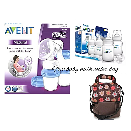 95edc4012146 AVENT Natural Breast Pump with Reusable Milk Storage Cup - Clear, A starter  Set & A free 2 Compartment Cooler Bag