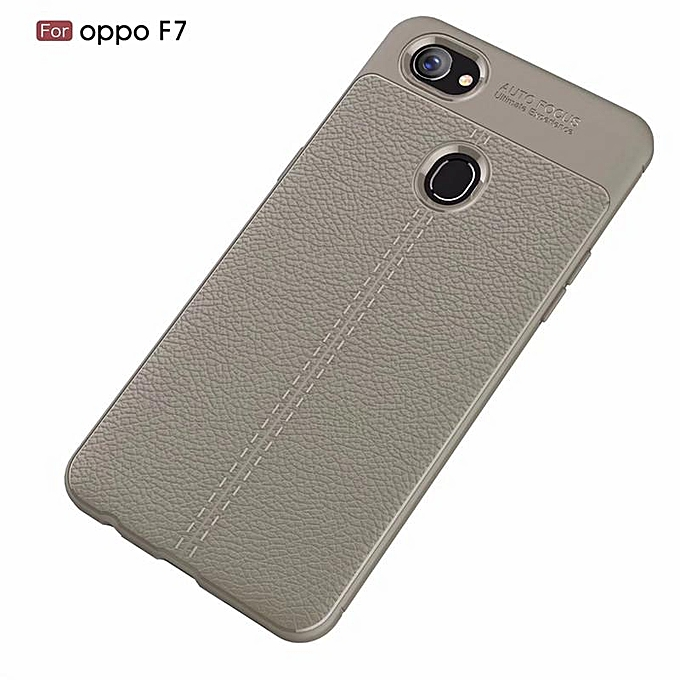 more photos 31367 51e4d For OPPO F7 Litchi Soft Silicon Protective Case Shockpproor Back Cover  (Grey)