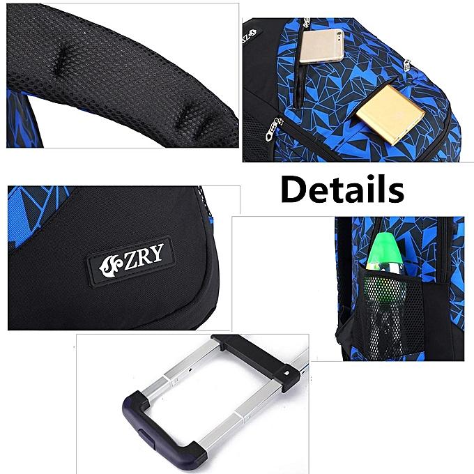 134977b32e7 ... 3Pcs Kids Teenagers School Bags Boy Removable Trolley Backpack Bag With  Wheels  2 wheel