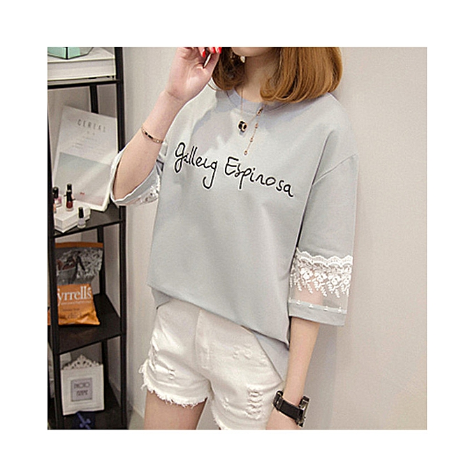 6a865542 Generic Women's 3/4 Long Sleeve Lace Print Girls T Shirts @ Best ...