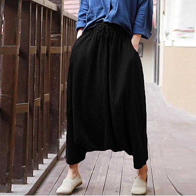 9e74d775d086 ZANZEA Cotton Linen Women Elastic Lace-up Baggy Drop-Crotch Pocket Harlan Pants  Black