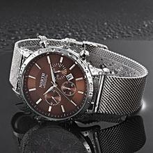 Olivaren North Calendar Quartz Wrist Watch Stainless Steel Bracelet Men Watch Brown
