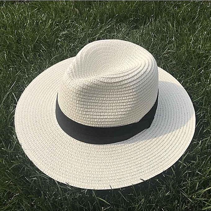 213715197e924b Women Ribbon Wide Brim Straw Hat Fedora Beach Sun Hat UPF50 Sun Floppy  Summer Boater Hat