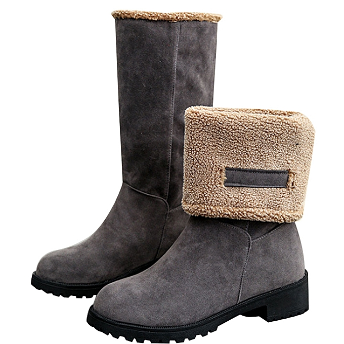 5a961782b80d ... Fashion Ladies Women Boots Flat Winter Warm Snow Shoes GY 36- Gray 36