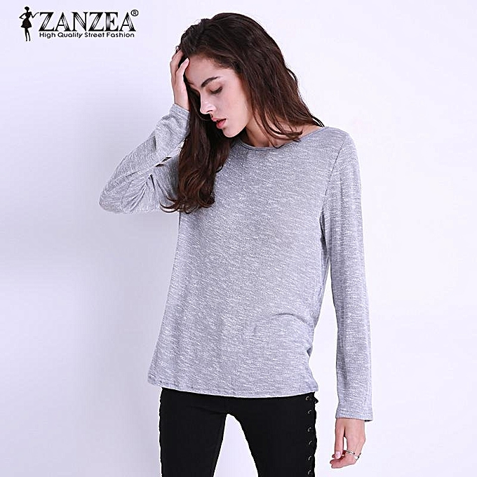 3f32d99a17250 ZANZEA Plus Size Women Blouses Spring Autumn Casual Loose O Neck Long  Sleeve Tops Blouse Solid