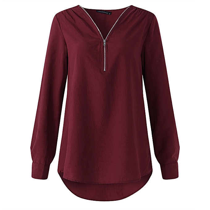 8a267c137eef ... Women Low Cut Solid Loose Blouse Shirt Ladies Wear To Work Tops ...