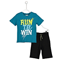 Turquoise Fashionable T-Shirt & Black Short Set