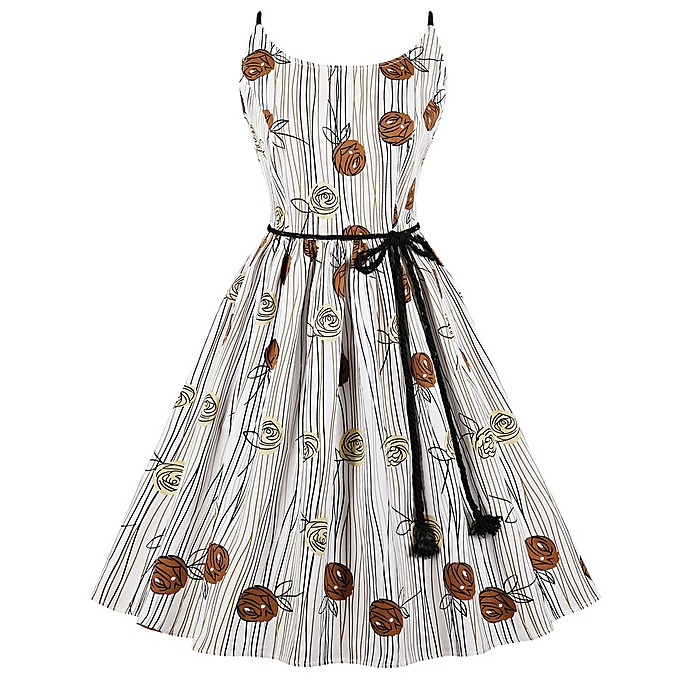 8863cba675 Fashion Leadsmart Hepburn Vintage Series Women Dress Spring And Summer  Round Neck Floral Printing Design Sleeveless