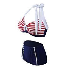hiamok 2017 Summer Women's Bikini Swimsuit Striped Push Up Fat Swimwear Set Plus Size