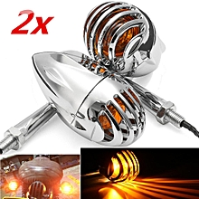 Motorcycle Metal Grille Turn Signal Indicator Amber Light For Harley