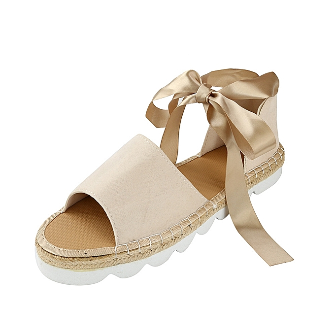 9bd807e671 Womens Ladies Flat Lace Up Espadrilles Summer Chunky Holiday Sandals Shoes  Size