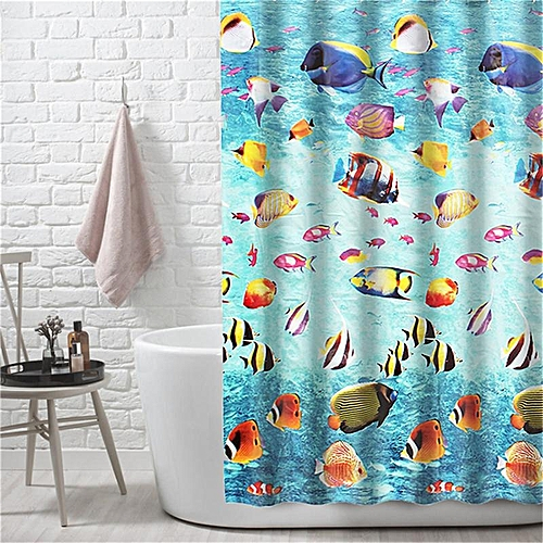 Generic EVA Elegant Shower Curtain 12 Ring Hooks Waterproof Mildew Resistant Bathroom Best Price