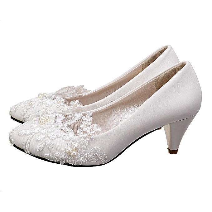 501433165c7 Women Pearl Flower Lace Wedding Shoes Prom Bridal Bridesmaid Flat Low Heel  Shoes 5CM-EU