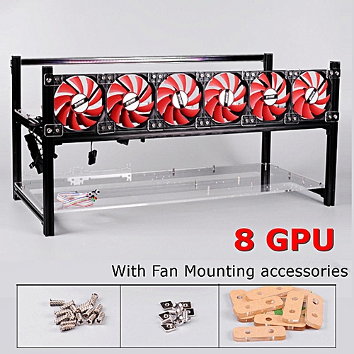 Buy Generic Crypto Coin Aluminum Open Air Frame Mining Rig Case 6/8 ...