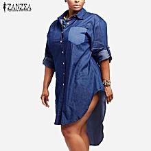 ZANZEA Women Vintage Denim Dress Lapel Long Sleeve Irregular Hem Long Tops Shirts Oversized Vestidos Plus Size