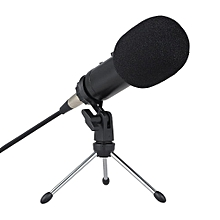 Professional Condenser Microphone Studio Sound Microphone Recording Broadcasting Sound Card Earphone Port with Reverberation Echo Sponge Cover Clip Tripod HT-S