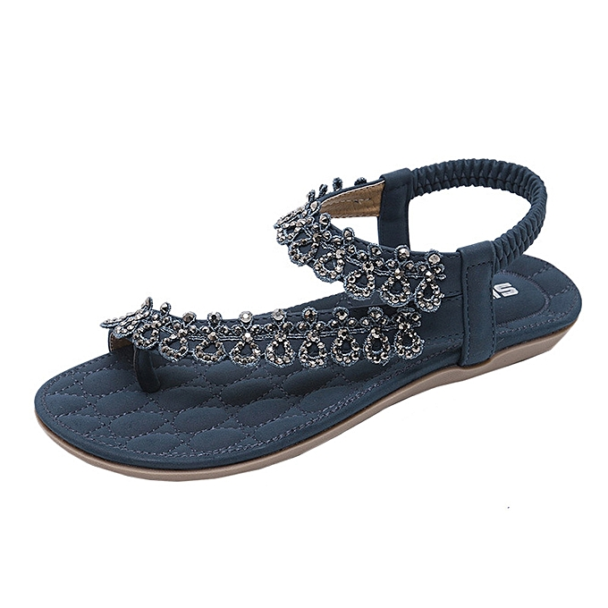 5963fe730 hiamok Fashion Women Bohemia Girls Flower Rhinestone Flat Sandals Outdoor  Shoes
