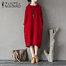 ZANZEA Women Casual Loose Long Sleeve Turtleneck Side Pockets Solid Sweatshirt Dress Red