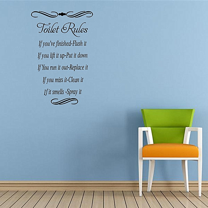 """16.7"""" x 11.2"""" Toilet Rules Quote Wall Stickers Vinyl Decal Removable Home Decor ..."""