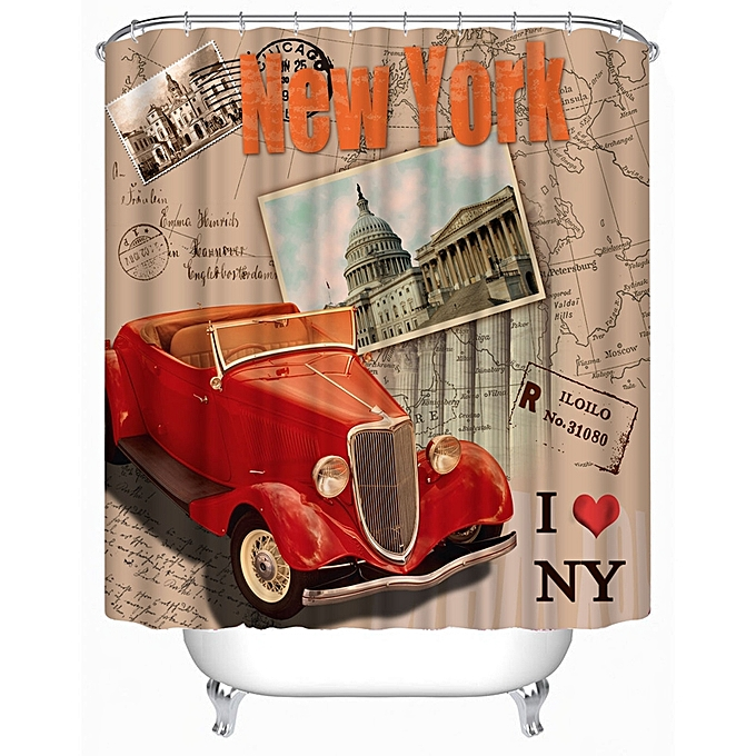 72x72 Inch Completely Polyester Colormix Car Series Shower Curtains With 12 Rings