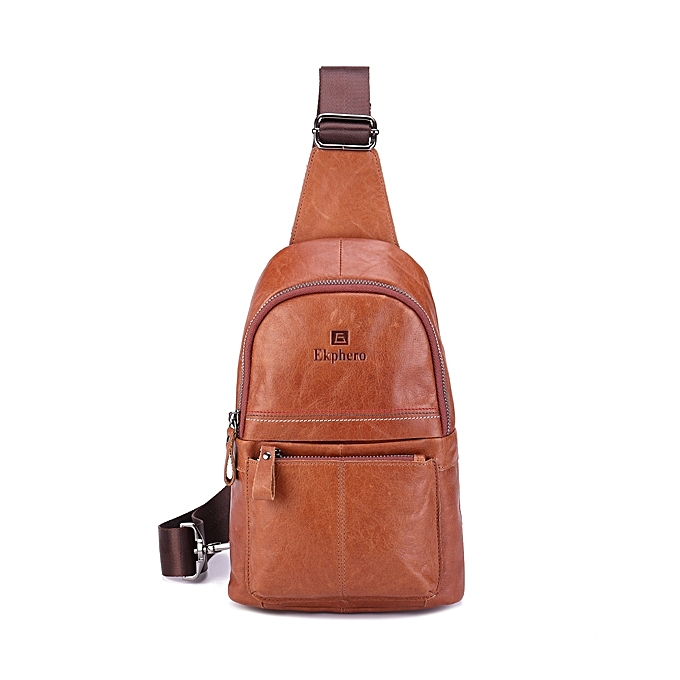 Ekphero® Men Genuine Leather Vintage Crossbody Bag Chest Bag Casual  Business Shoulder Bag 00a57cd8b502e
