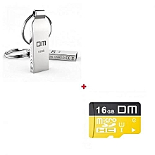 Metal 16GB Flash Disk with Key Ring + 16GB Memory Card