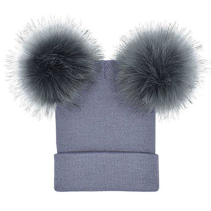 Women Winter Warm Crochet Knit Double Faux Fur Pom Pom Beanie Hat Cap da0206374