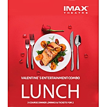 Valentines' Entertainment Combo for TWO - ANGA IMAX  Lunch Tickets