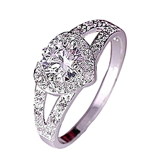bluerdream-Women Chic Sterling  Crystal Heart Shaped Love Wedding Ring 9-Silver