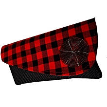 African Red  checked Clutch Bag