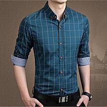 Men's Solid Color Slim Plaid Long-Sleeved Shirt Navy XL-navy   XL