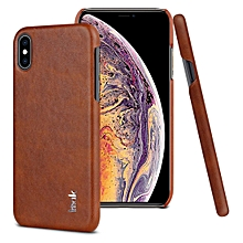 IMAK Ruiyi Series Concise Slim PU + PC Protective Case for iPhone X / XS(Brown)