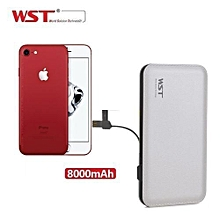 iPhone 7, iPhone 7 Plus, iPhone 6s, iPhone 6s Plus, iPhone 6, iPhone 6 Plus - Ultra Thin Power Bank 8000mah Quick Charge Mobile Charger External Battery Built in Cable - White