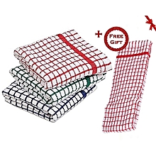 Cotton Kitchen towel - 6 Pieces + Free Gift Hand Towel