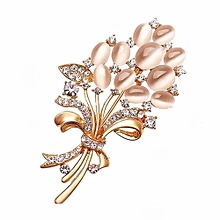 New Opal Rhinestone Brooches For Women Vintage Fashion Female Jewelry Gold Plated Opal Flower Brooch Broches Pins Mujer