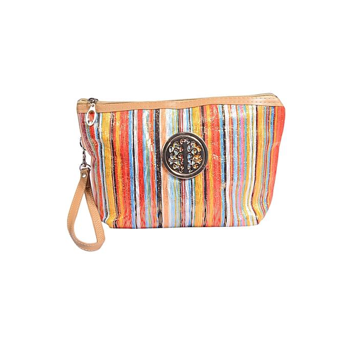 Stripped Pouch Makeup Bag Purse Clutch Small Handbag