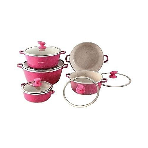 Non-Stick Cooking/Serving Pots - 10 Pieces - Pink.