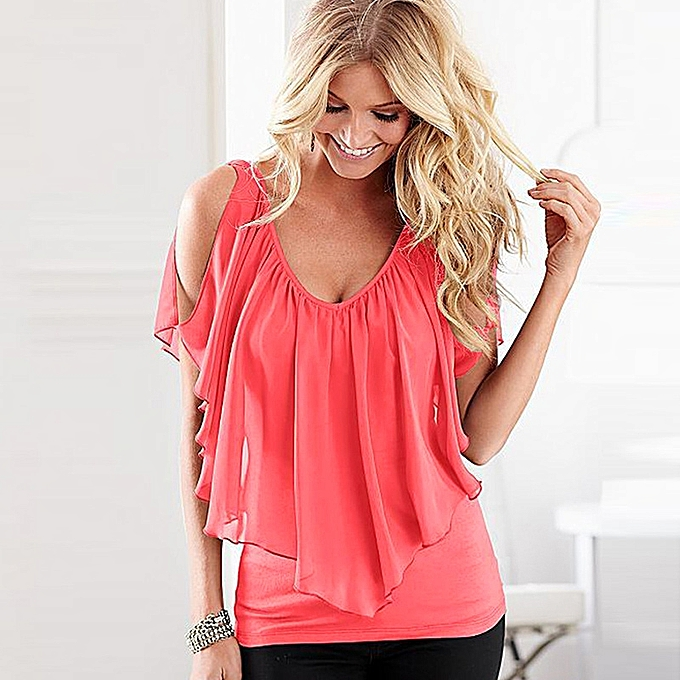 cf5adccd0a0c62 ... Casual Tops · Sexy Women Blouse V Neck Cold Shoulder Ruffles Sleeveless  Solid T-Shirt Vest Tank Summer