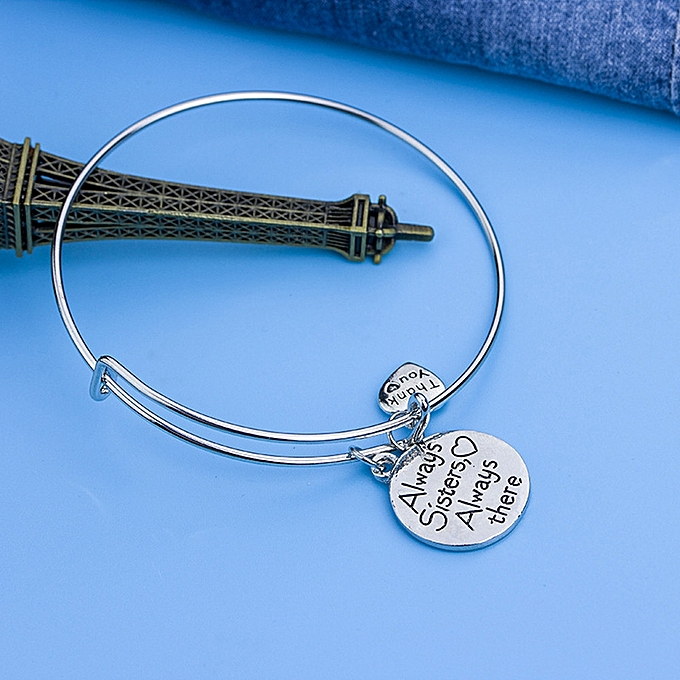 Jiuhap Inspirational Bangle Always Sisters There Adjule Bracelets Silver