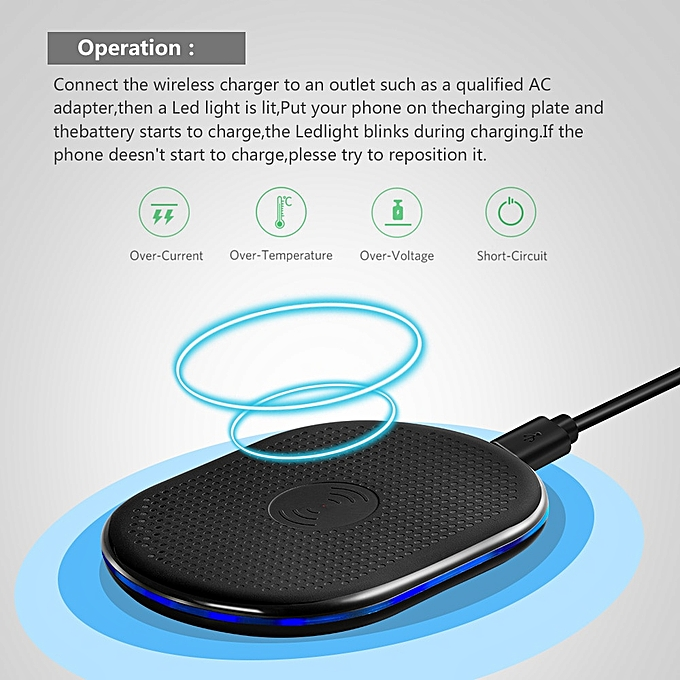 Qi Wireless Charger For iPhone X / 8 Plus Qi Fast Wireless Charging Pad For  Samsung Galaxy S8/S7 Plus /S7//Note8 Xiaomi Redmi A1(Universal)