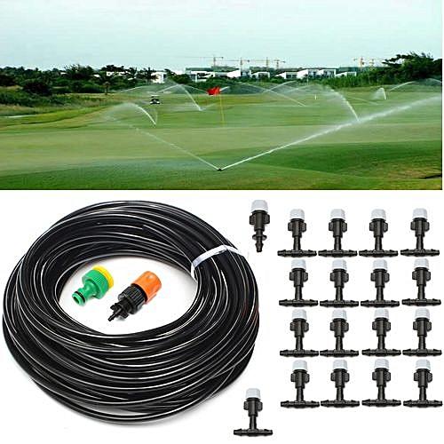 20m 66FT Outdoor Garden Misting Cooling System +10 Plastic Mist Nozzle  Sprinkler