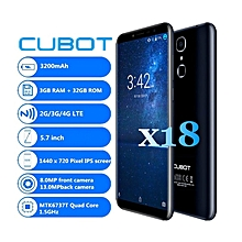 Cubot X18 4G Smartphone Android 7.0 5.7 inch 3GB RAM 32GB ROM-BLUE