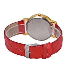 guoaivo Geneva Fashion Unisex Casual Leather Band Quartz Analog Wrist Watch Watches Red -Red