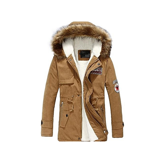 1089055ec Khaki Winter Jacket Men Windproof New Zipper Solid Hood Warm Coat Thick  Cotton-Padded Famous
