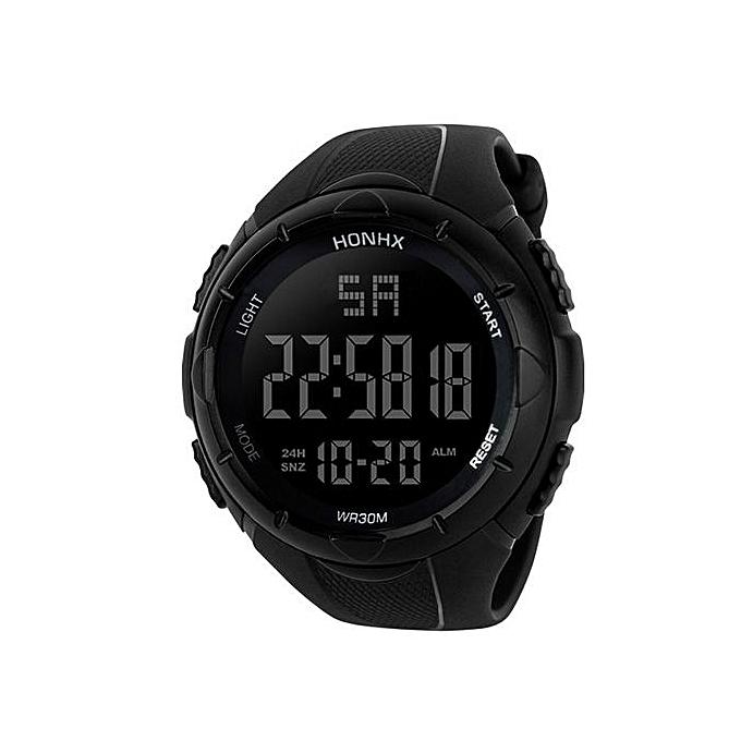 Luxury Men Analog Digital Military Army Sport LED Waterproof Wrist Watch - Black