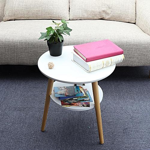 Generic Round Side End Table Tea Coffee With Bottom Storage Shelf