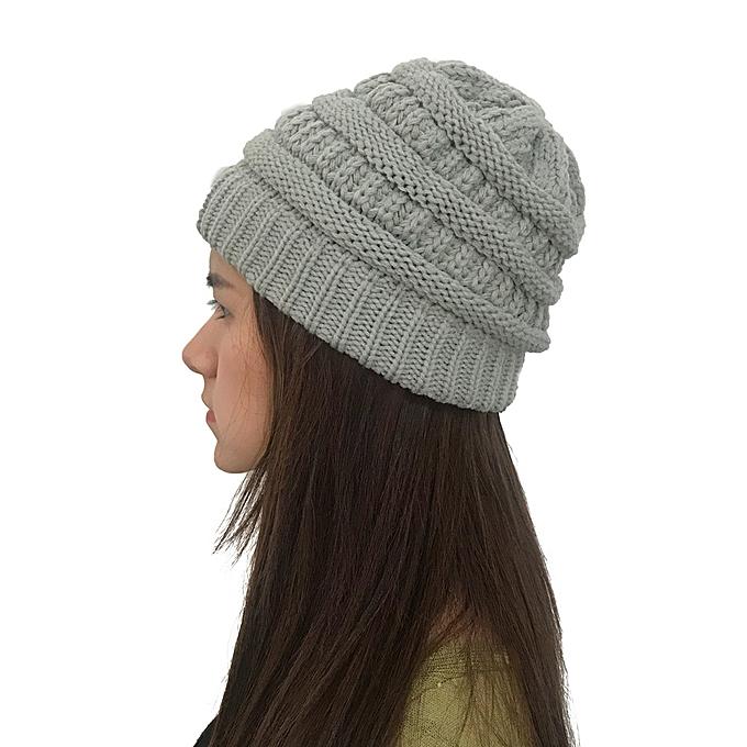 f798ce33a Wenrenmok Store Men Women Autumn Winter Outdoor Warm Hats Crochet Knit  Holey Beanie Cap-Gray
