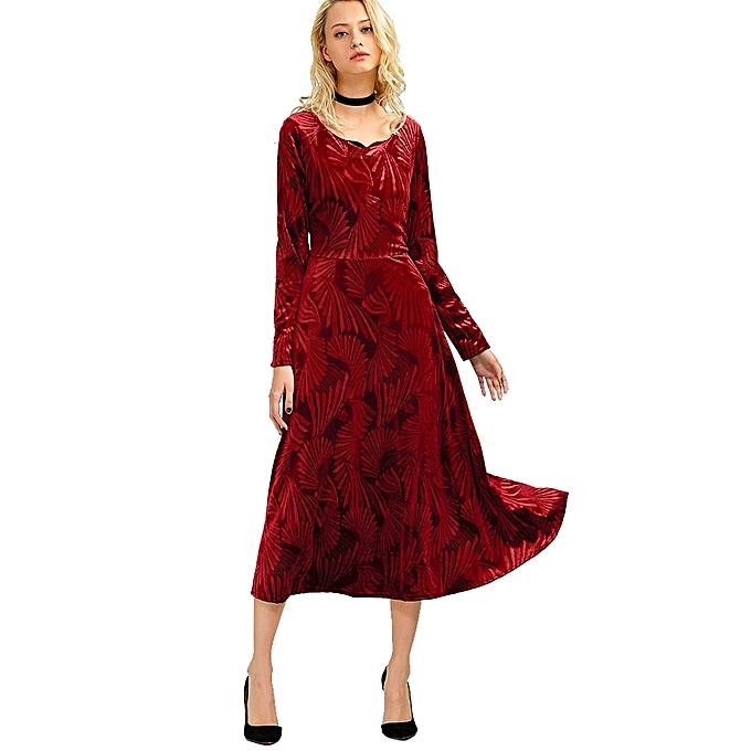 e00dbb07775c Fashion Long Sleeve A Line Velvet Midi Swing Dress - RED   Best ...