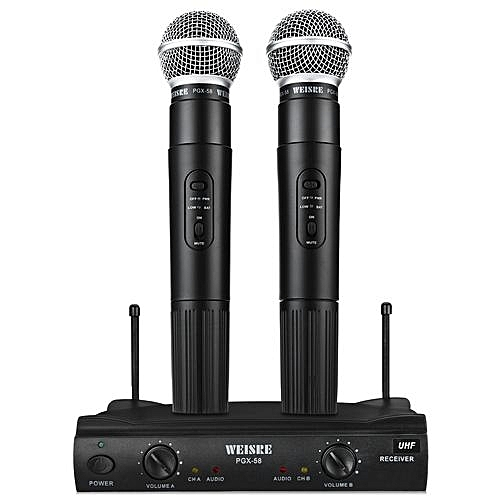 WEISRE PGX - 58 Professional UHF Dual Wireless Microphone Mic System For Karaoke Party KTV Etc.-BLACK