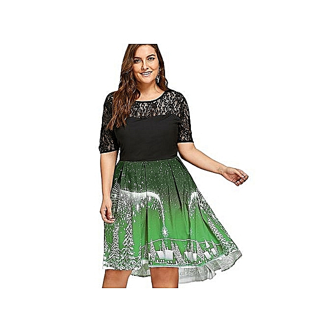 Christmas Party Dress.Plus Size Christmas Party Lace Panel Vintage Dress Green